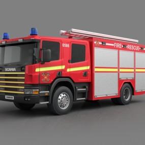 红色消防车3D模型【ID:915267288】