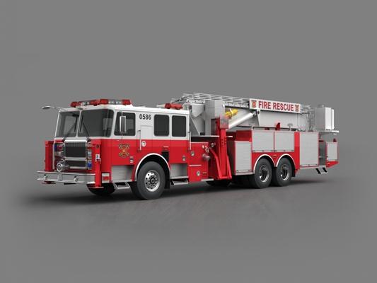 红色消防车3D模型【ID:915268211】