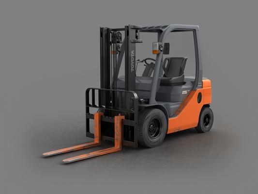 橙色叉车3D模型【ID:915268392】