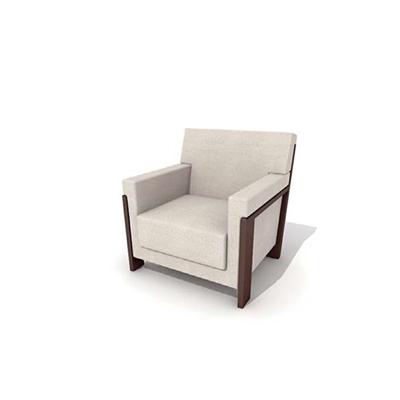 现代布艺单人沙发3D模型【ID:915380659】