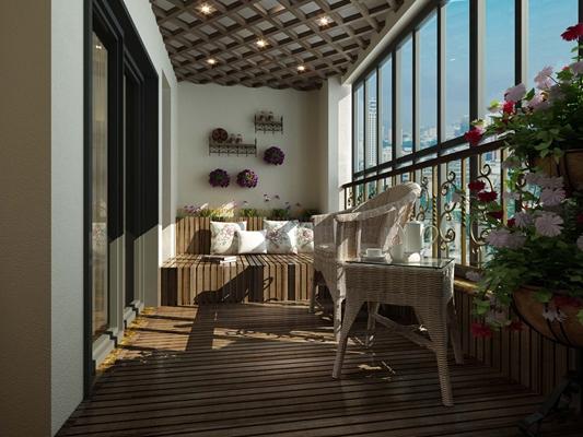 法式田園棕色長方形木藝雙人沙發3D模型【ID:915398786】