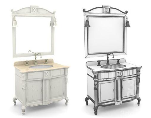 现代白色浴室柜3D模型【ID:915461491】