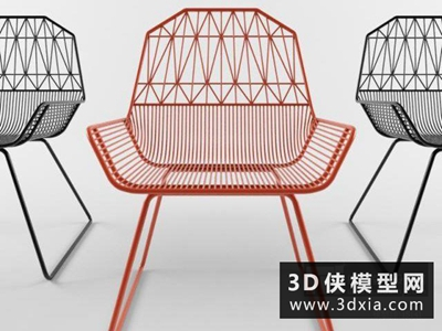 現代金屬椅子國外3D模型【ID:729711827】