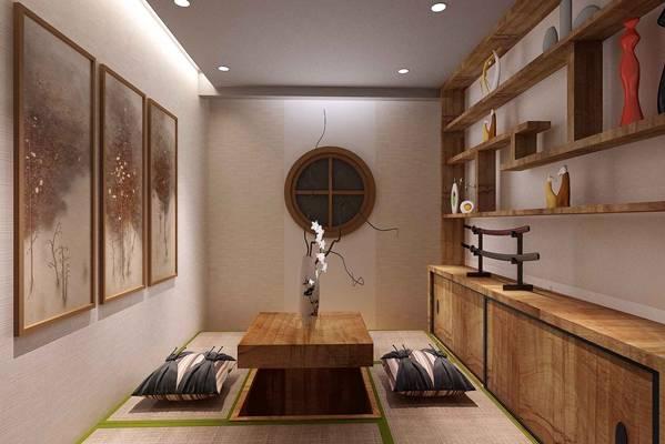 日式休息室3D模型【ID:917439414】