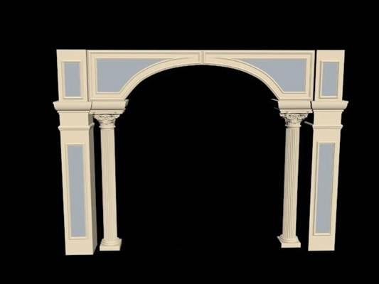 蓝色石头欧式构件3D模型【ID:917507298】