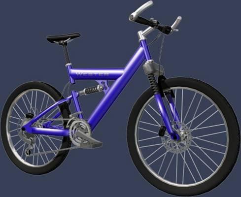 蓝色自行车3D模型【ID:917529103】