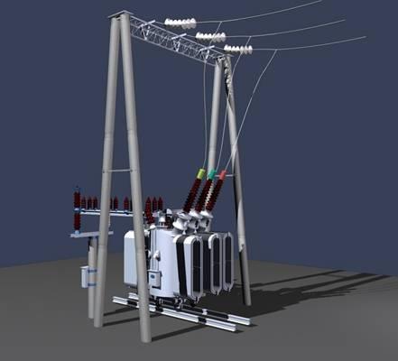 變壓器3D模型【ID:917529523】