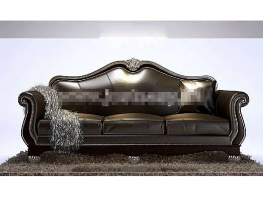 欧式简约黑色皮质三人沙发3D模型【ID:917539888】