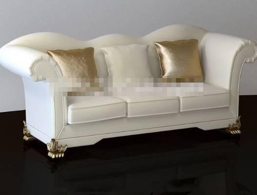 欧式简约白色布艺三人沙发3D模型【ID:917543882】