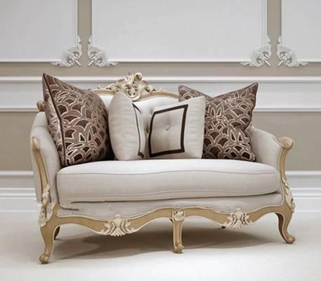 欧式简约白色布艺双人沙发3D模型【ID:917557789】