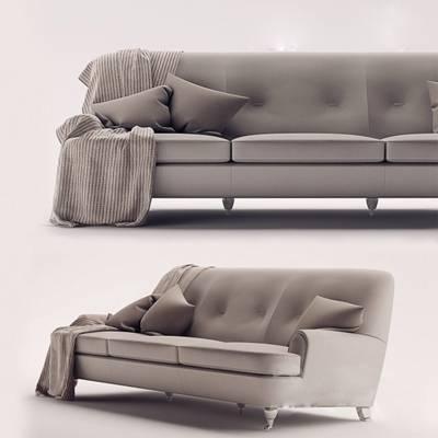 现代灰色布艺三人沙发3D模型【ID:917561804】