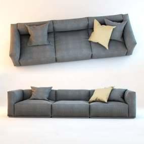 现代灰色布艺三人沙发3D模型【ID:917561899】