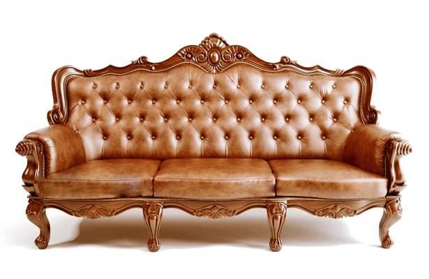 经典欧式棕色皮质三人沙发3D模型【ID:917565810】