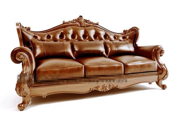 传统美式棕色皮质三人沙发3D模型【ID:917565886】