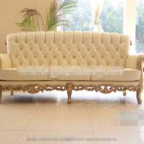 欧式简约米色布艺三人沙发3D模型【ID:917567883】