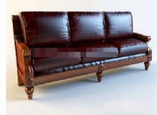 新中式棕色皮质三人沙发3D模型【ID:917568836】