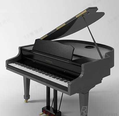 黑色木艺钢琴3D模型【ID:917578911】
