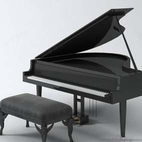 黑色木艺钢琴3D模型【ID:917583963】