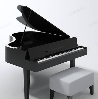 黑色木艺钢琴3D模型【ID:917583966】