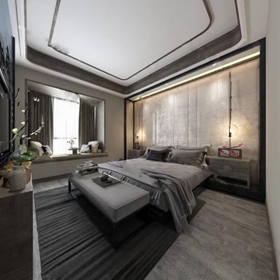 中式卧室3D模型【ID:419623387】