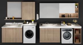 现代洗衣机伴侣卫浴柜架摆件组合3D模型【ID:127754585】