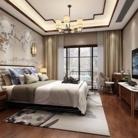 新中式卧室3D模型【ID:427963351】