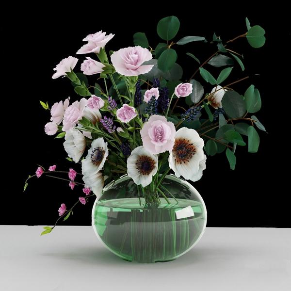 現代花瓶花卉盆栽3D模型【ID:247686826】