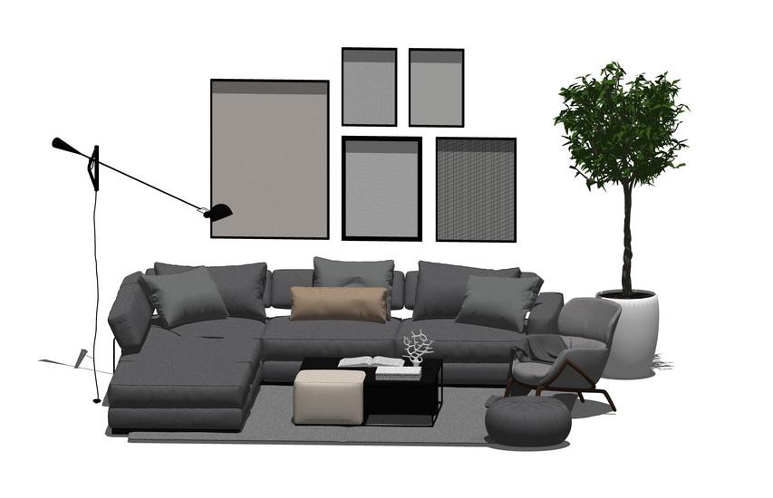 北欧风格客厅沙发茶几组合SU模型【ID:436567107】