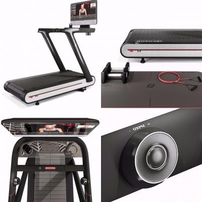 現代跑步機彈力繩啞鈴瑜伽墊組合3D模型【ID:927839996】