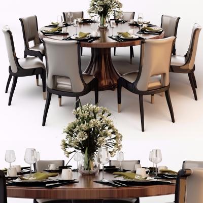 美式實木圓形餐桌椅餐具組合3D模型【ID:327792419】