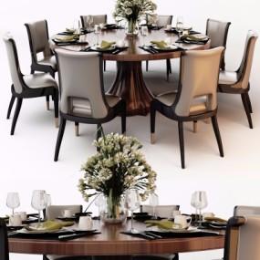 美式实木圆形餐桌椅餐具组合3D模型【ID:327792419】