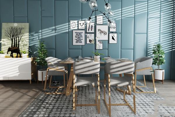 餐桌椅组合3D模型【ID:120026865】