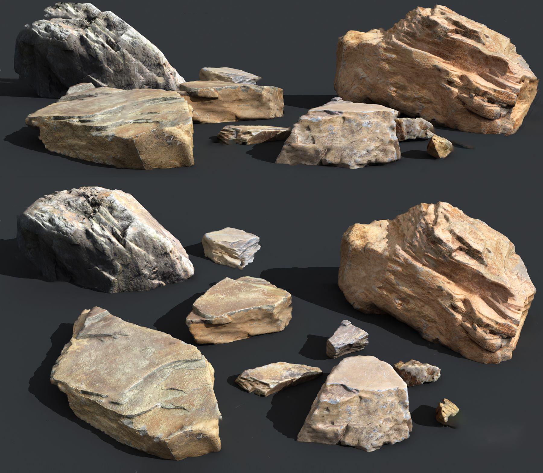 现代景观石头3D模型【ID:143092496】