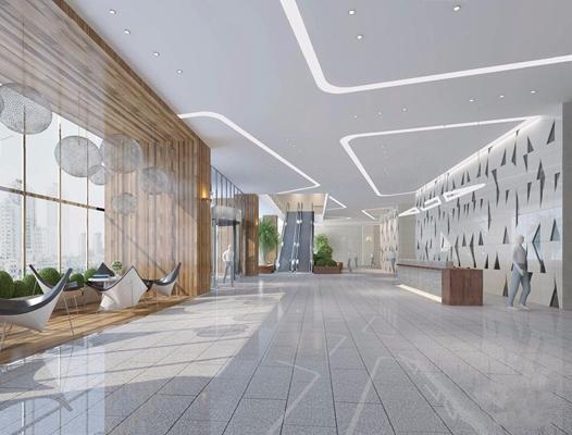 現代办公大厅3D模型【ID:728307702】