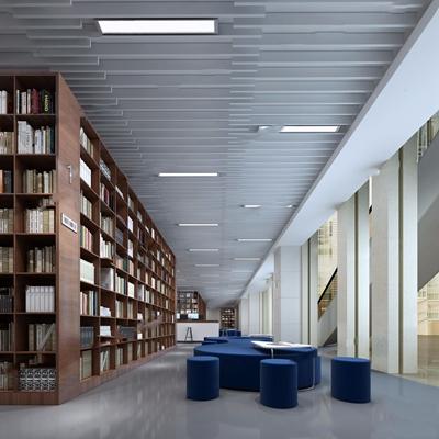 現代圖書館3D模型【ID:828157266】