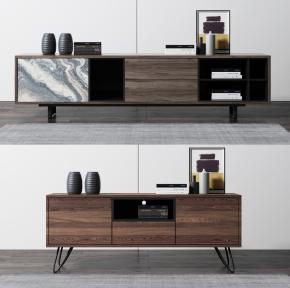 現代實木電視柜3D模型【ID:927824069】