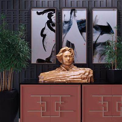 青年毛澤東半身雕塑擺件3D模型【ID:327921844】