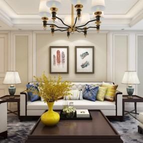 美式沙发组合3D模型【ID:127859095】