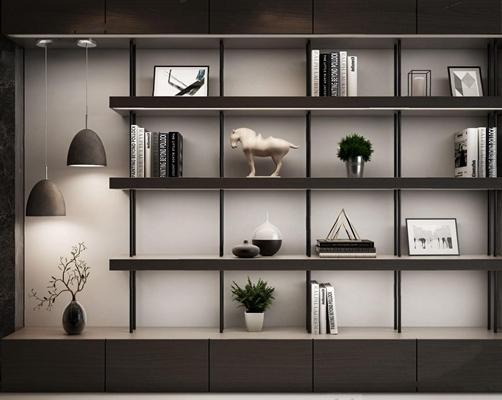 现代书柜组合3D模型【ID:427981086】