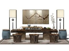 中式茶台凳子落地灯茶具组合3D模型【ID:327785691】