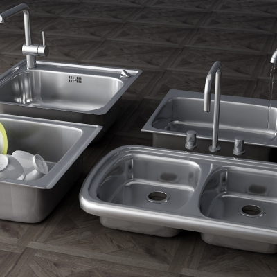 現代不銹鋼水槽3D模型【ID:828474315】