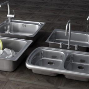 现代不锈钢水槽3D模型【ID:828474315】