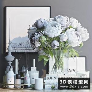现代装饰花组合国外3D模型【ID:929324817】