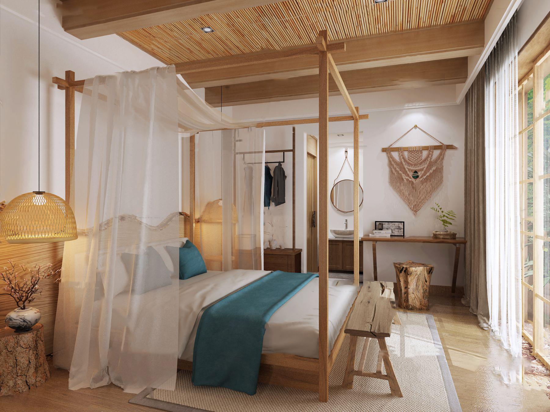 自然风民宿酒店客房3D模型【ID:743349313】