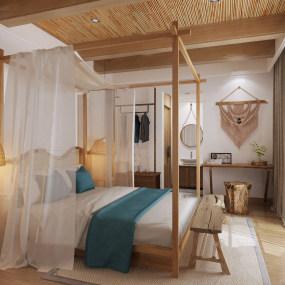 自然�L民�宿酒店客房3d模型【ID:743349313】