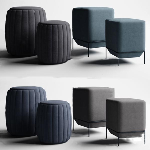 现代布艺凳子3d模型