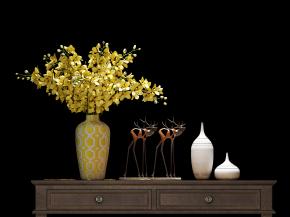 新中式端景台花瓶花卉摆件组合3D模型【ID:327786829】