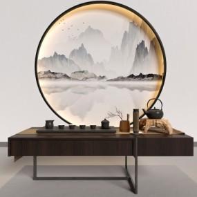 新中式茶几茶具组合3d模型【ID:928562691】