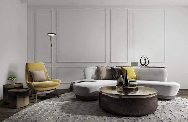 北欧布艺弧形组合沙发3D模型【ID:647289758】