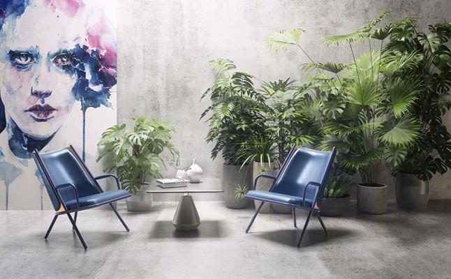 Marmo休闲椅绿植组合3D模型【ID:227891412】
